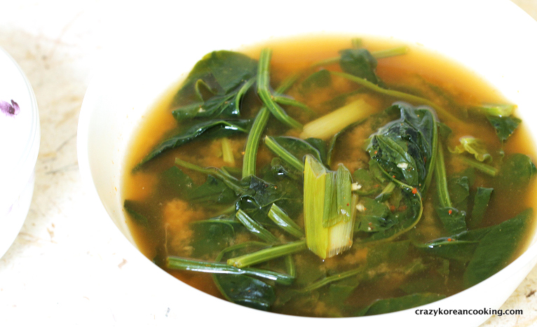 Korean Spinach Soup Spinach Soybean Paste Soup